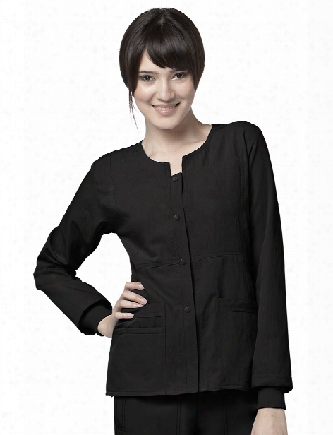 Wonderwink Four-stretch Sporty Button Front Jacket - Black - Female - Women's Scrubs