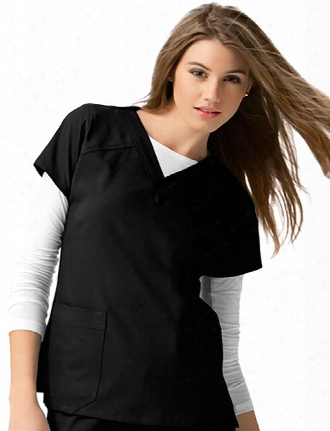 Wonderwink Four-stretch Sporty V-neck Scrub Top - Black - Female - Women's Scrubs