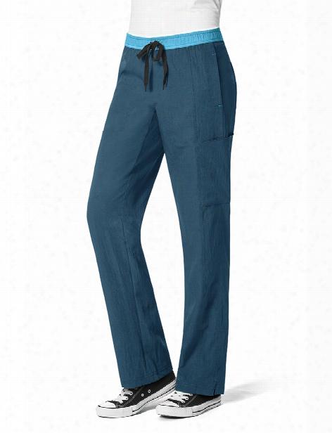 Wonderwink Four-stretch Straight Leg Scrub Pant - Caribbean-pewter-real Teal - Female - Women's Scrubs