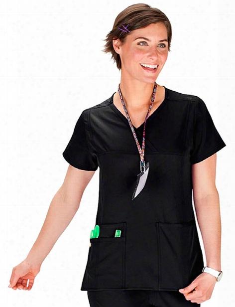 Wonderwink Four-stretch Y-neck Multi Pocket Scrub Top - Black - Female - Women's Scrubs