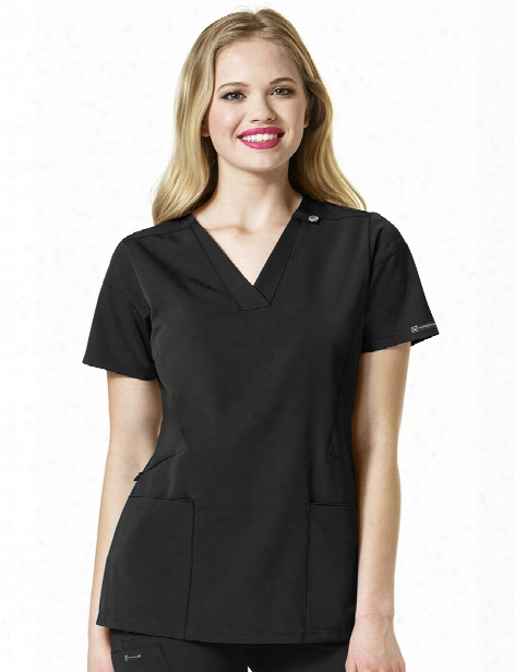 Wonderwink High Performance Sequence Scrub Top - Black - Female - Women's Scrubs