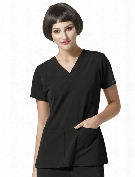 Wonderwink High Performance Sync V-neck Scrub Top - Black - Female - Women's Scrubs