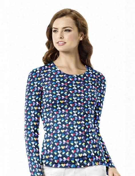Wonderwink Kaleidoscope Print Silky Tee - Print - Female - Women's Scrubs
