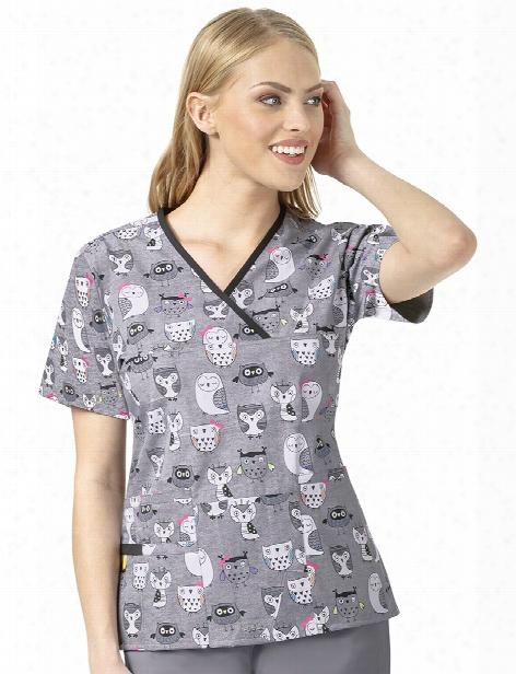 Wonderwink Origins Our Friends Mock Wrap Scrub Top - Print - Female - Women's Scrubs
