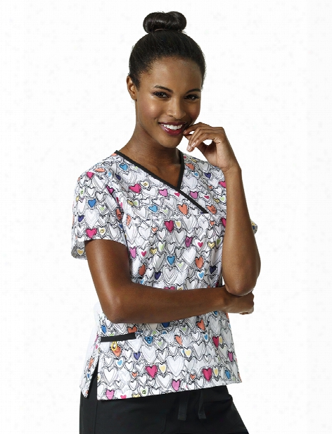 Wonderwink Origins Wink With Love Scrub Top - Print - Female - Women's Scrubs