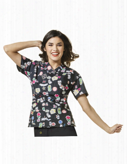 Wonderwink Origins Wonder Vision Scrub Top - Print - Female - Women's Scrubs