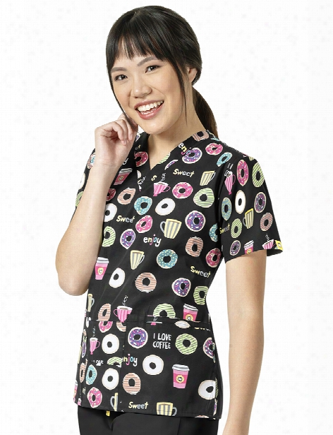 Wonderwink Origins Xoxo Scrub Top - Print - Female - Women's Scrubs