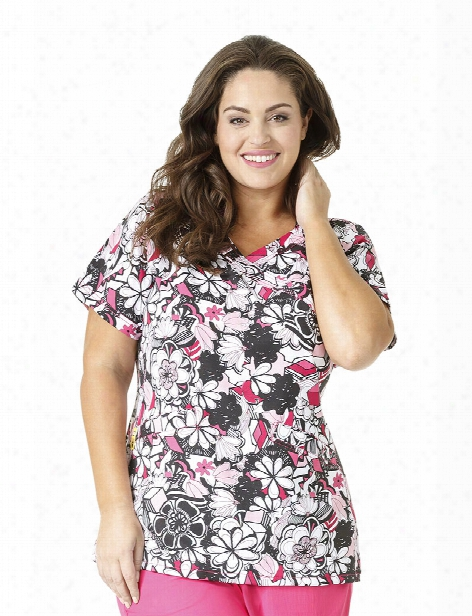 Wonderwink Plus Floral Graffiti Scrub Top - Print - Female - Women's Scrubs