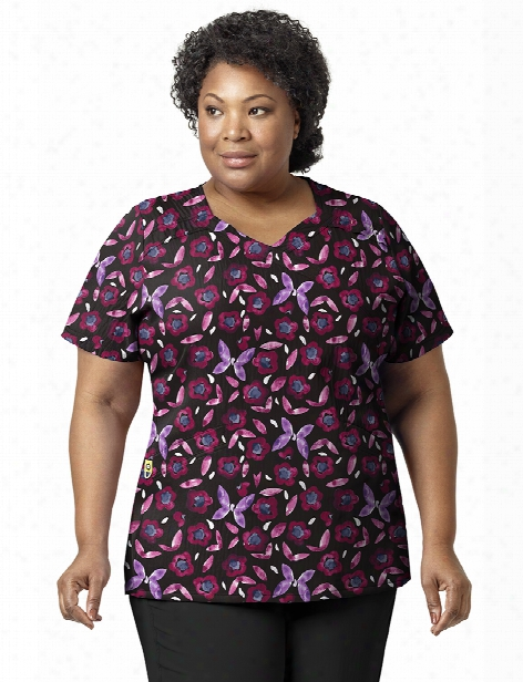 Wonderwink Plus Mariposa Mock Wrap Scrub Top - Print - Female - Women's Scrubs
