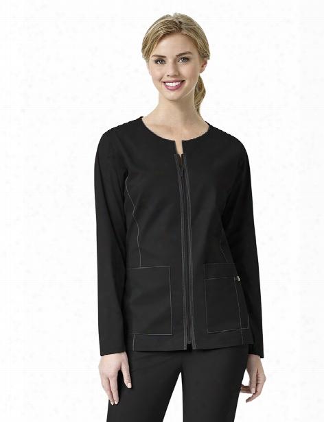Wonderwink Seven Flex Zip Front Jacket - Black - Female - Women's Scrubs