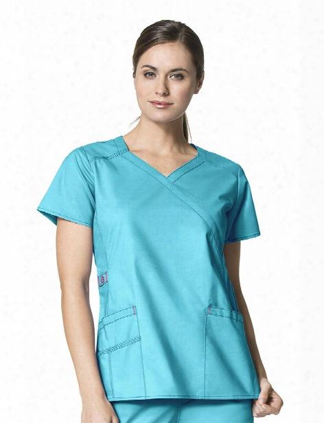 Wonderwink Wonderflex Charity Y-neck Wrap Scrub Top - Aqua - Of ~s - Women's Scrubs