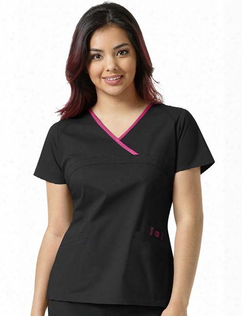 Wonderwink Wonderflex Charlize Scrub Top - Black-hot Pink - Female - Women's Scrubs
