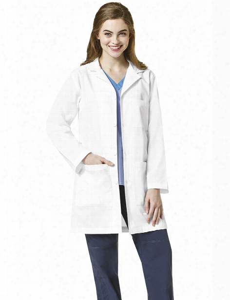 Wonderwink Wonderflex Fashion Lab Coat - White - Female - Women's Scrubs