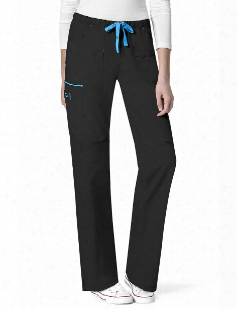 Wonderwink Wonderflex Joy Scrub Pant - Black-malibu Blue - Female - Women's Scrubs