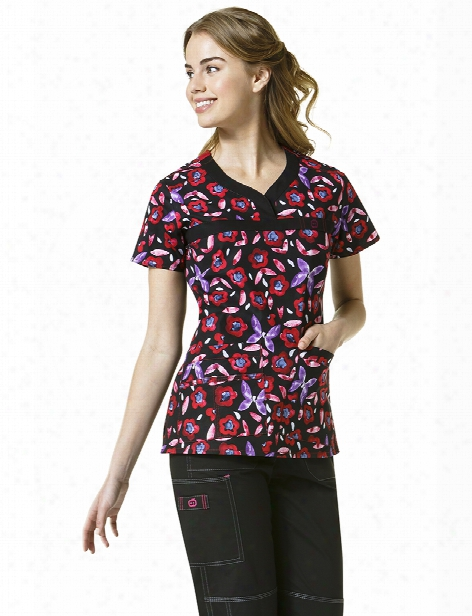 Wonderwink Wonderflex Mariposa Scrub Top - Print - Female - Women's Scrubs
