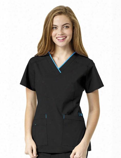 Wonderwink Wonderflex Peace Scrub Top - Black-malibu Blue - Female - Women's Scrubs