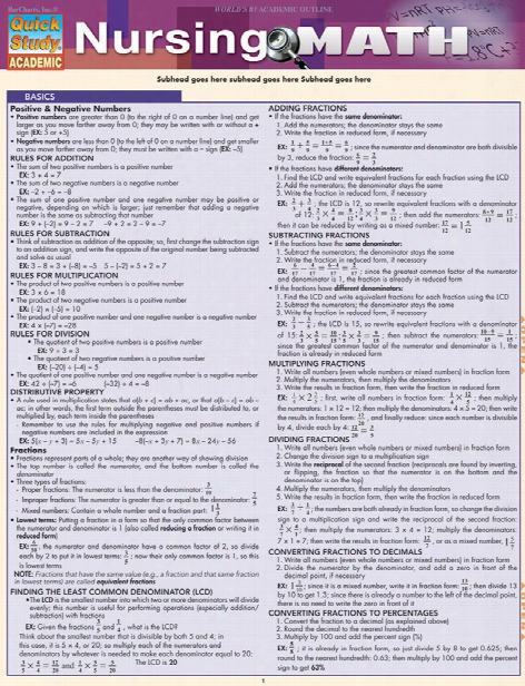 Barcharts Barcharts Nursing Math Reference Guide - Unisex - Medical Supplies
