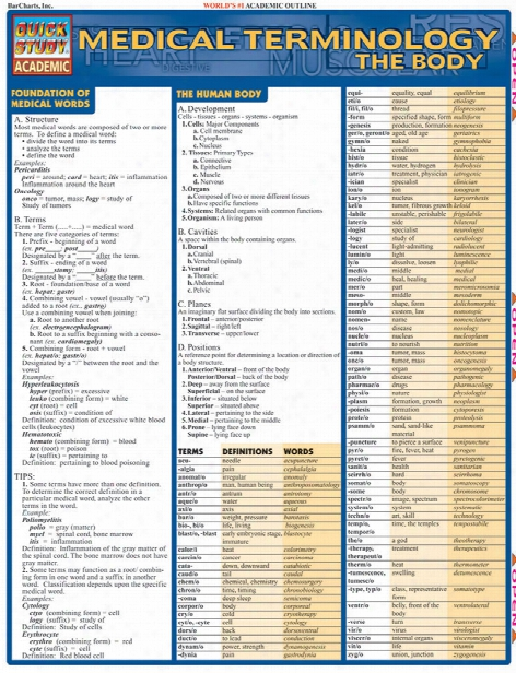 Barcharts Barcharts The Body Medical Terms Reference - Unisex - Medical Supplies