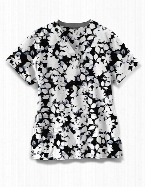 Carhartt Cross-flex Floral Nightfall Scrub Top - Print - Female - Women's Scrubs