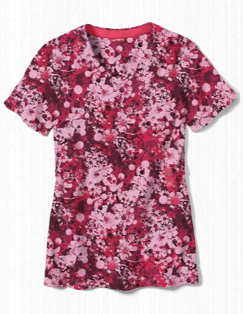 Carhartt Cross-flex Flower Press Scrub Top - Print - Female - Women's Scrubs
