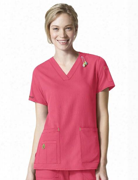 Carhartt Cross-flex Media Scrub Top - Azalea - Female - Women's Scrubs