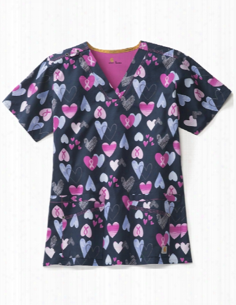 Carhartt Rockwall Courageous Love Scrub Top - Print - Female - Women's Scrubs