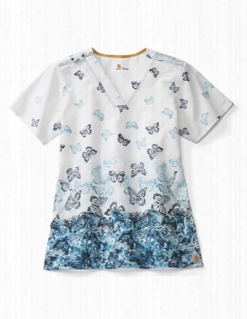 Carhartt Rockwall Flutter Garden Scrub Top - Print - Female - Women's Scrubs