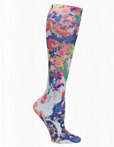 Celeste Stein Fancy Watercolors Compression Knee High Socks - Print - Female - Women's Scrubs