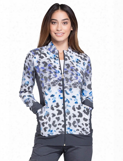 Cherokee Flexibles Hidden Houndstooth Warm-up Jacket - Print - Female - Women's Scrubs