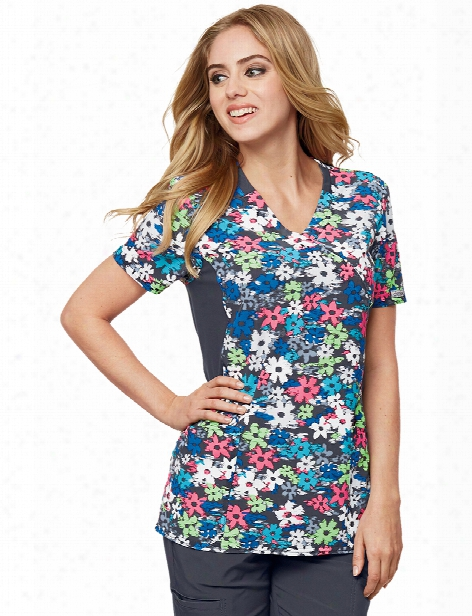 Cherokee Flexibles Petals In Motion Scrub Top - Print - Female - Women's Scrubs