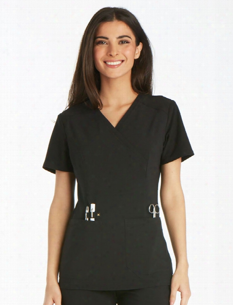 Cherokee Iflex Mockwrap Scrub Top - Black - Female - Women's Scrubs