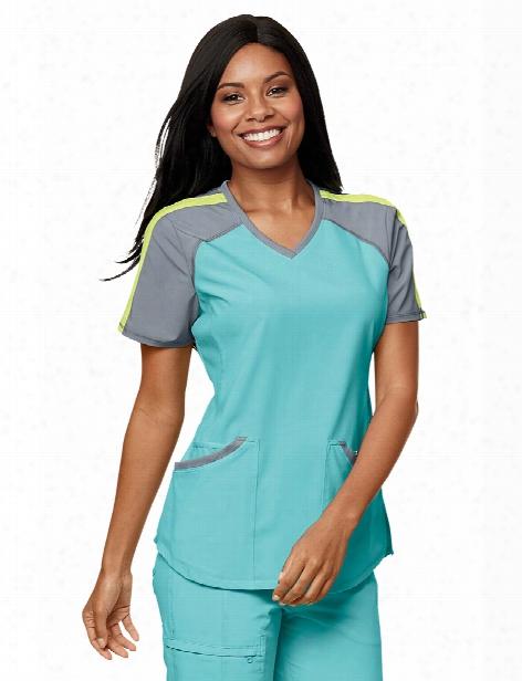 Cherokee Infinity Colorblock V-neck Scrub Top - Aqua-grey-sunny Day - Female - Women's Scrubs