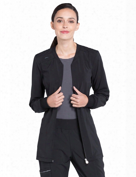 Cherokee Infinity Zip Front Warm-up Jacket - Black - Female - Women's Scrubs