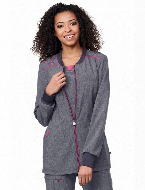 Cherokee Infinity Zip Front Warm-up Scrub Jacket - Heather Grey - Female - Women's Scrubs