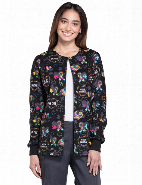 Cherokee Love You To Pieces Warm-up Jacket - Print - Female - Women's Scrubs