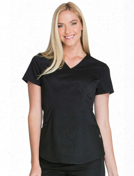 Cherokee Luxe Sport Mockwrap Scrub Top - Black - Female - Women's Scrubs