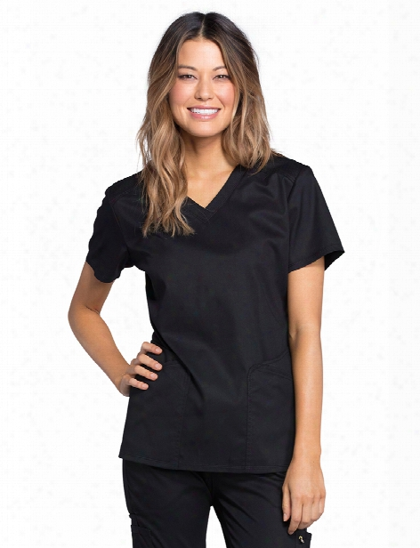 Cherokee Luxes Port V-neck Scrub Top - Black - Female - Women's Scrubs