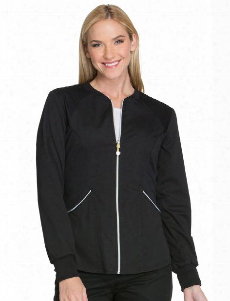 Cherokee Luxe Sport Zip Warm-up Jacket - Black - Female - Women's Scrubs