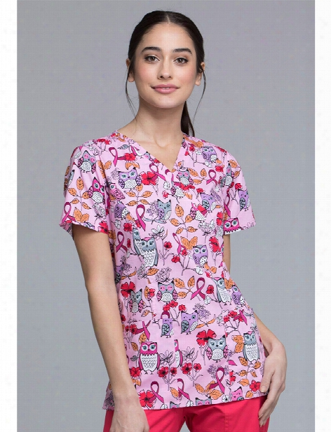 Cherokee Owl About The Love Scrub Top - Print - Female - Women's Scrubs
