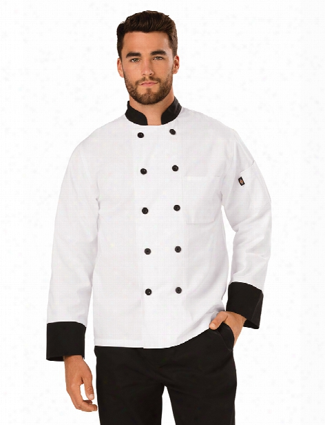 Dickies Chef Unisex Classic 10-button Contrast Chef Coat - White-black - Unisex - Chefwear