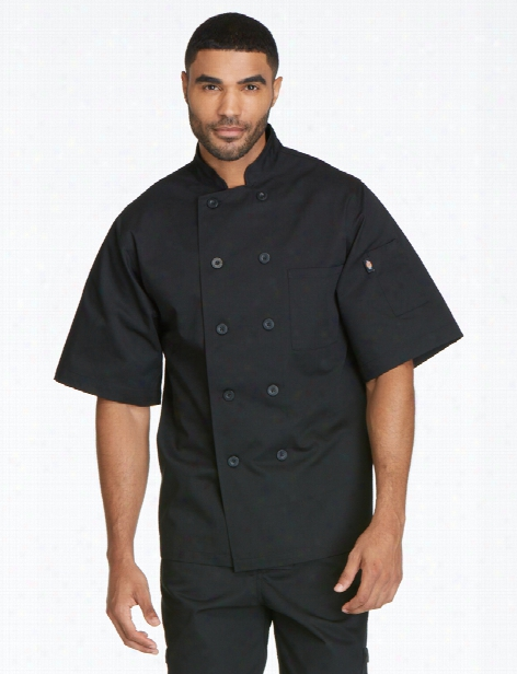 Dickies Chef Unisex Classic Short Sleeve 10-button Chef Coat - Black - Unisex - Chefwear