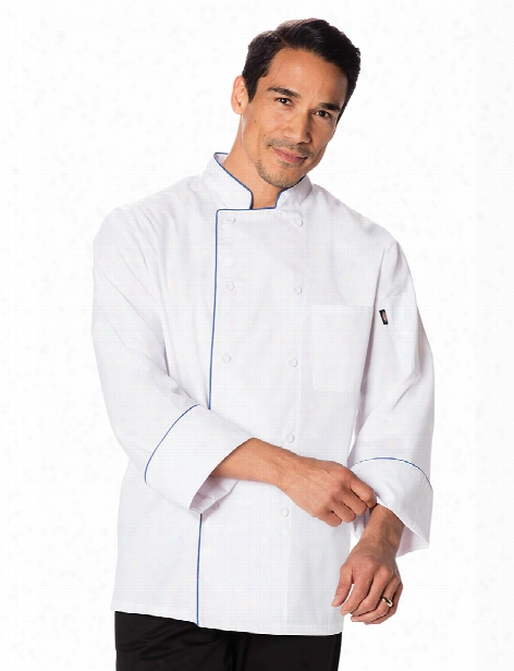 Dickies Chef Unisex Cool Breeze Chef Coat With Contrast Piping - White-black - Unisex - Chefwear
