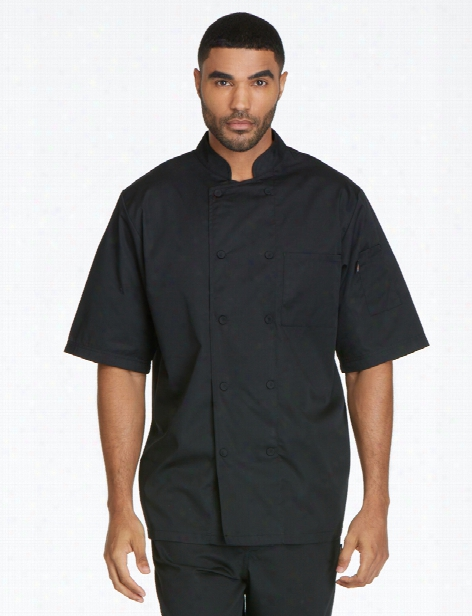 Dickies Chef Unisex Cool Breeze Short Sleeve Chef Coat - Black - Unisex - Chefwear