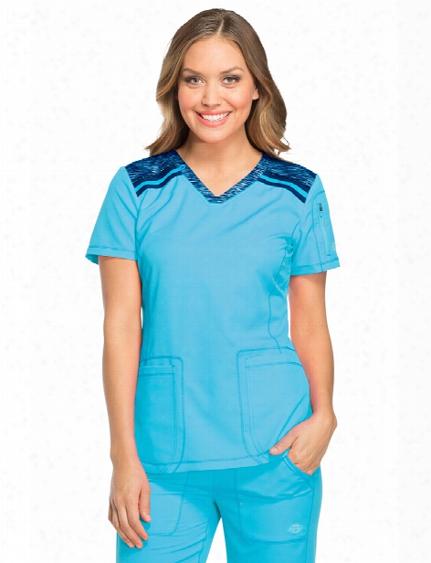 Dickies Dynamix Contrast V-neck Scrub Top - Blue Ice-navy - Female - Women's Scrubs