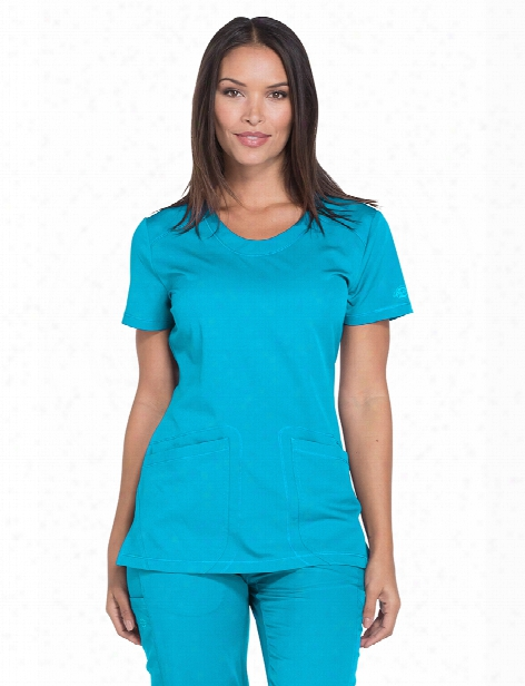 Dickies Dynamix Rounded V-neck Scrub Top - Blue Ice - Female - Women's Scrubs