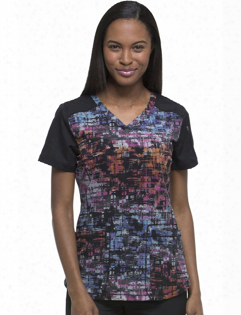 Dickies Dynamix Texture Tango Cosmic Pink Scrub Top - Print - Female - Women's Scrubs