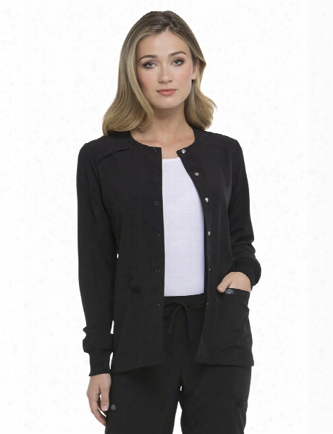 Dickies Eds Essentials Snap Closur Warm-up Scrub Jacket - Black - Female - Women's Scrubs