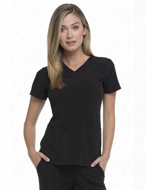 Dickies Eds Essentials V-neck Scrub Top - Black - Female - Women's Scrubs