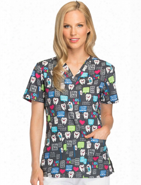Dickies Eds Have A Laugh Scrub Top - Pint - Female - Women's Scrubs