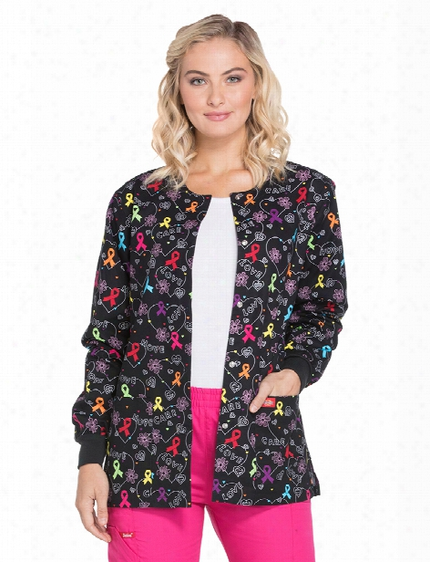 Dickies Eds Hoepful Hearts Cancer Awareness Warm-up Jacket - Print - Female - Women's Scrubs